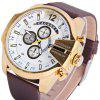 Cagarny 6839 Male Quartz Watch with Date Big Round Dial Leather Wristband - GOLDEN