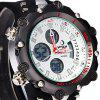 Hpolw 619 Dual Movt LED Watch Week Alarm Date Stopwatch 3ATM Water Resistant - WHITE