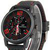 GT Sports Male Military Watch Analog Quartz Wristwatch Silicone Strap Round Dial - RED