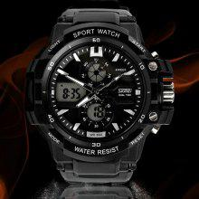 Skmei 0990 Double Movt Military LED Watch 3ATM Water Resistant Day for Sports