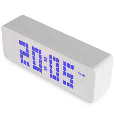 Novelty Blue Light LED Wooden Electronic Alarm Clock with Sound Control Calendar Thermometer Function