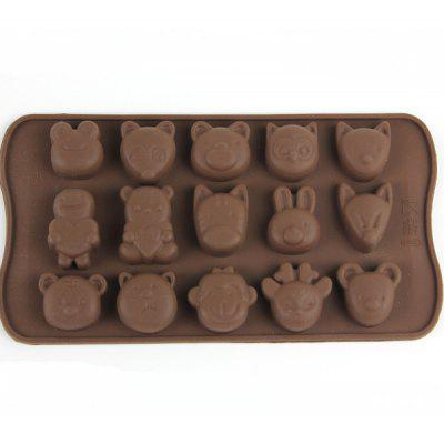 Animals Style Chocolate Pudding Ice Cube Tray with 15 Ice Grids