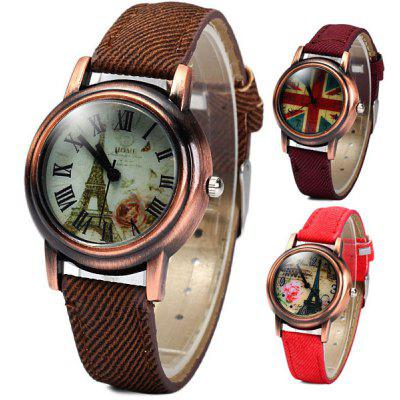 Retro Quartz Watch Round Dial Cloth + Leahter Strap for Ladies