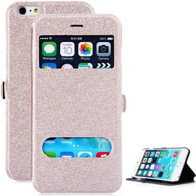 Stylish PU Leather and PC Material Dual View Windows Design Cover Case with Stand Function for iPhone 6 Plus - 5.5 inches