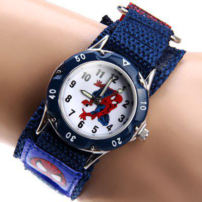 Spider Man Quartz Watch Round Dial Velcro Nylon Strap for Children