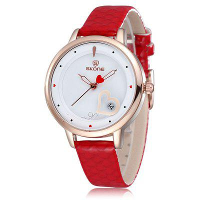 Skone Women Japan Quartz Watch with Day Heart - shape Pattern Round Dial PU Leather Strap