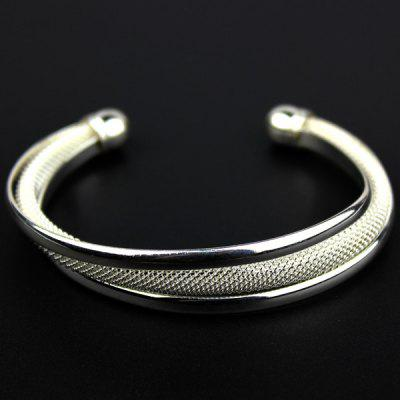 Beauty Jewerly 925 Sterling Silver Plated Mesh Arc Cuff Women Bangle Bracelet for Fashion Supplies