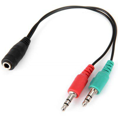 Multifunctional 3.5mm Female to 2 Male Earphone Headphone Splitter Mic Audio Y Adapter Line Cable