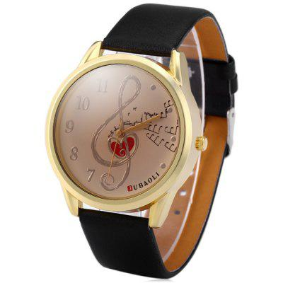 JUBAOLI 1001 Fashion Women Quartz Watch Round Dial with Music Notes Inside Leather Band
