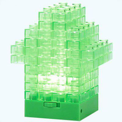 Innovative Building Block Lamp DIY Assembly Night Light Children Potential Exploitation Christmas Festival Gift (64Pcs / Lot)