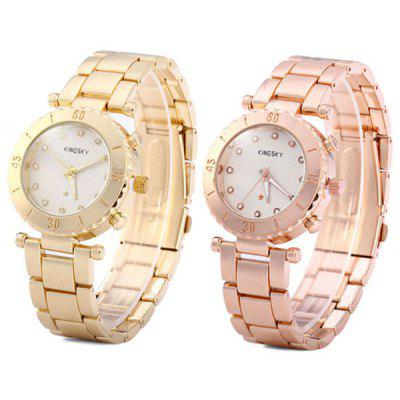 Kingsky Women Diamond Quartz Watch Analog Round Dial Stainless Steel Strap