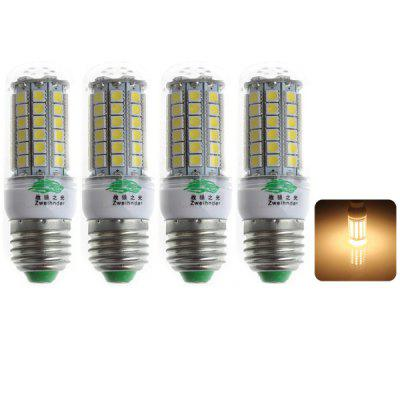 4 x Zweihnder E27 7W 69 x 5050 SMD 3000  -  3500K 600Lm LEDs Warm White Corn Light