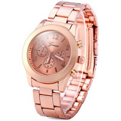 Geneva Female Quartz Watch Non - functioning Sub - dials Round Dial Steel Watchband