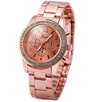 Geneva Diamond Quartz Watch Round Dial Steel Band for Lady