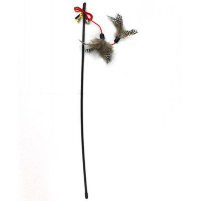 Pet Playing Plastic Stick Cat Feather Bell Pole Toy Rod Eco - friendly