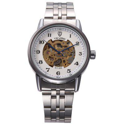 Tevise 617 - 003 Men Automatic Mechanical Watch Hollow - out Round Dial Stainless Steel Body