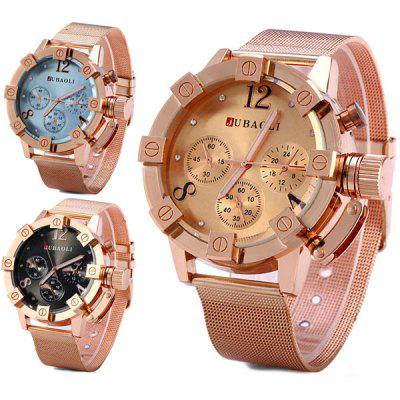 JUBAOLI Male Water Resistant Quartz Watch Round Dial Mesh Strap with Three Sub - dials Decoration