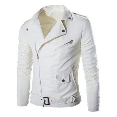 Slimming Turn-down Collar Inclined Zipper Fly Belt Design Long Sleeves Men's PU Leather Coat