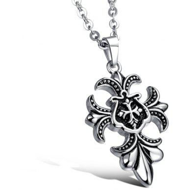 Stylish Carved Cross Pendant Necklace For Men