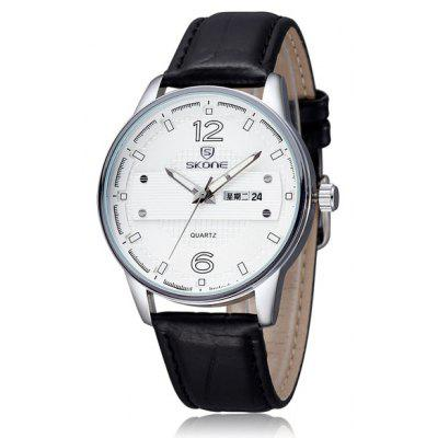 Skone Day and Date Function Male Japan Quartz Watch Round Dial Leather Strap