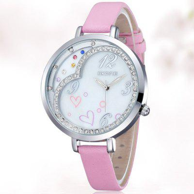 Skone Female Japan Quartz Watch Diamond Round Dial Leather Watchband