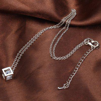 Cube Pattern Rhinestone Pendant Necklace for Female Ornament