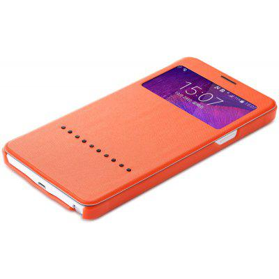 Rock Sliding to Answer PU and PC Cover Case for Samsung Galaxy Note 4 N9100
