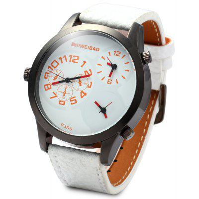 SHIWEIBAO 9399 Three Time Zones Quartz Watch Leather Band Round Dial for Men