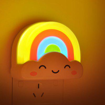 Rainbow Design Night Lamp LED Wall Light with Sound and Light Sensor  -  80V  -  240V