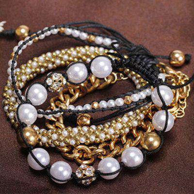 Chic Women's Beads Rhinestone Inlaid Design Layered Bracelet