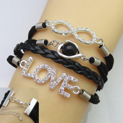 Trendy Rhinestone Decorated Multi-Layered Women's Friendship Bracelet