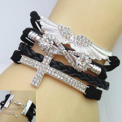 Chic Cross and Wing Shape Multi-Layered Women's Friendship Bracelet