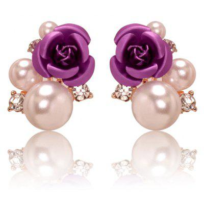 Faux Pearl Rose Stud Earrings