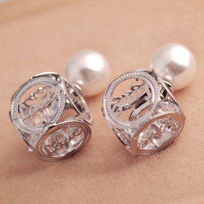 Pair of Faux Pearl Openwork Love Design Earrings