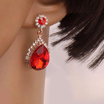 Pair of Teardrop Shape Rhinestone Faux Gem Earrings