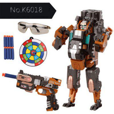 No.K6018 Super Cool The Armoured X - men Deformation Shooting Gun Assembly Transformers Robot Pistol Toy with Soft EVA Bullet New Year Gift