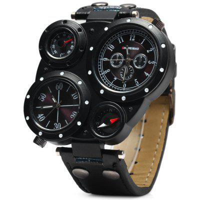 SHIWEIBAO J3104 Double Time Zones Quartz Watch with Compass Leather Band  for Men