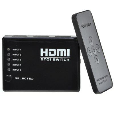 5 Ports 1080p HDMI Switch Splitter Hub + IR Receiver + Remote Control for HDTV PS3