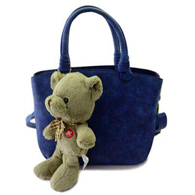 Trendy Solid Color and Bear Pendant Design Women's Tote Bag