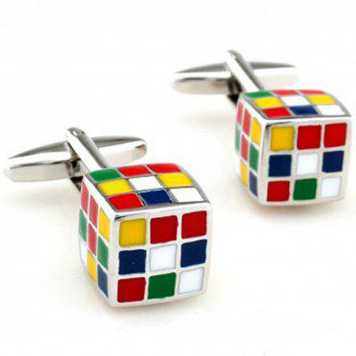 Pair of Chic Colorful Rubik's Cube Shape Cufflinks For Men
