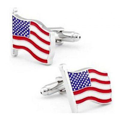 Pair of Chic Striped Splicing Design Alloy Cufflinks For Men