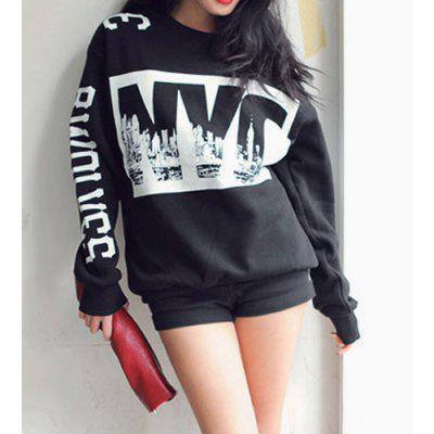 Fashionable Jewel Neck Letter Print Long Sleeve Women's Sweatshirt