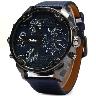 Oulm 3548 Double Time Zones Quartz Watch with Leather Band Round Dial for Men