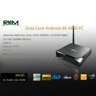 Rikomagic RKM MK80 2GB RAM 16GB ROM Allwinner A80 Octa Core 4K x 2K Android 4.4 TV Box H.265 HEVC Google TV Player with WiFi Bluetooth Function Support DLNA XBMC ( AC 100  -  240V / EU Plug )