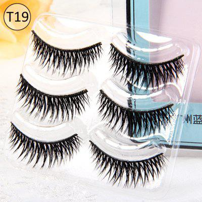 3 Pairs Shidi Shangpin False Eyelash Makeup for Women  -  Type T19