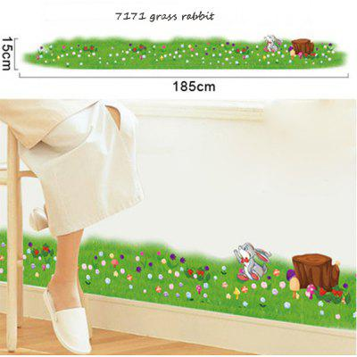 Grass Rabbit Removable Wall Decals for Bedroom