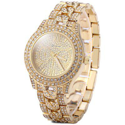 Geneva Female Diamond Quartz Watch Round Dial Stainless Steel Band
