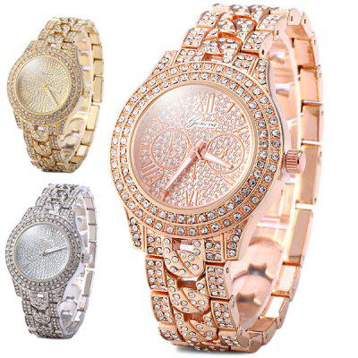 Geneva Female Diamond Quartz Watch Round Dial Stainless Steel BandWomens Watches<br>Geneva Female Diamond Quartz Watch Round Dial Stainless Steel Band<br><br>Available Color: Rose Gold,Silver,Gold<br>Band material: Stainless Steel<br>Case material: Stainless Steel<br>Clasp type: Sheet folding clasp<br>Display type: Analog<br>Movement type: Quartz watch<br>Package Contents: 1 x Watch<br>Product size (L x W x H): 20.5 x 3.8 x 1.1 cm / 8.1 x 1.5 x 0.4 inches<br>Product weight: 0.088 kg<br>Shape of the dial: Round<br>Special features: Decorating small sub-dials<br>Style: Diamond<br>The band width: 1.8 cm / 0.7 inches<br>The dial diameter: 3.8 cm / 1.5 inches<br>The dial thickness: 1.1 cm / 0.4 inches<br>Watches categories: Female table