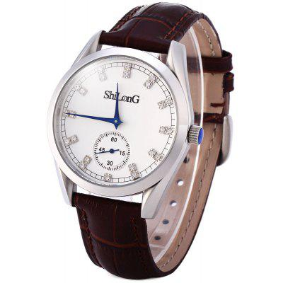 ShiLonG 8077G Male Quartz Watch Japan Movt Round Dial Genuine Leather Band with 50M Water Resistant Design