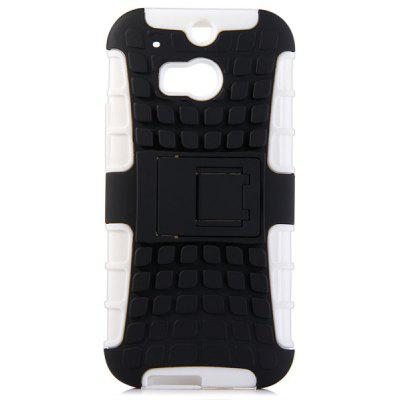Practical Tyre Texture TPU and PC Back Case Cover with Stand for HTC M8